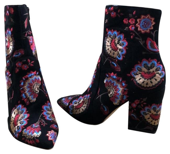 Item - Black/Multi Embroidered Suede Ankle Boots/Booties Size US 6 Regular (M, B)