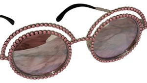 Chanel CHANEL Pearl Round Sunglasses 71139 Silver Pink