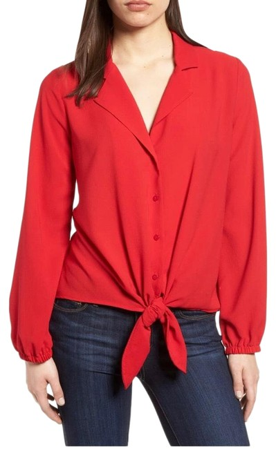 Item - Red Front Tie Blouse Size 2 (XS)