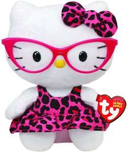 Hello Kitty HELLO KITTY TY BEANIE BABIES NERD WITH GLASSES PINK LEOPARD PLUSH DOLL