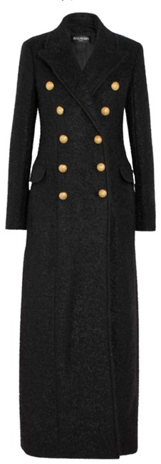 Item - Black Double Breasted Mohair and Wool Coat Size 10 (M)