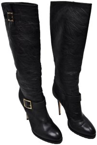 Jimmy Choo Leather Heeled Stiletto Knee High Black Boots