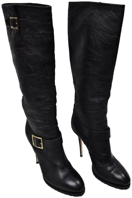 Item - Black Leather Knee High Boots/Booties Size EU 42 (Approx. US 12) Regular (M, B)