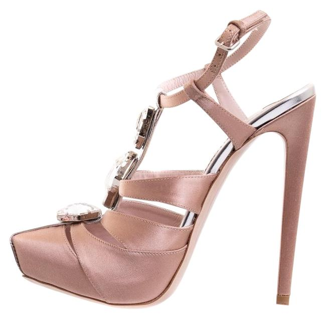 Item - Pink Satin Heels Platforms Size EU 37.5 (Approx. US 7.5) Narrow (Aa, N)