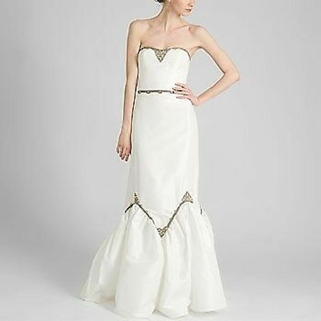 Item - Ivory Silk Embellished Gown Formal Wedding Dress Size 6 (S)