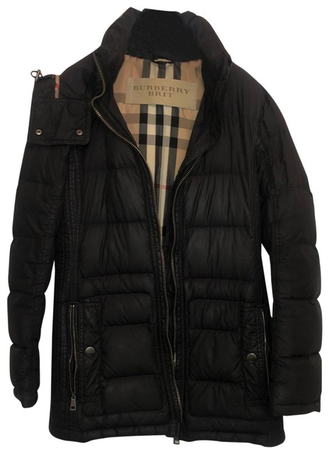 Burberry Brit Slate Hooded Puffer Coat Size Petite 4 (S) Burberry Brit Slate Hooded Puffer Coat Size Petite 4 (S) Image 1