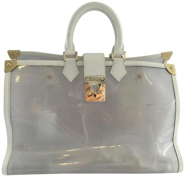 Item - Plage Grand Galet Epi White Pvc and Leather Beach Bag