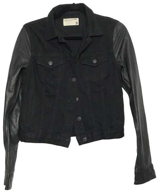Item - Black The Jean Leather Sleeve Coal Jacket Size 4 (S)