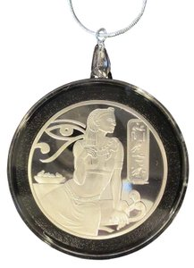 """CLEOPATRA Ancient Egyptian Cleopatra COIN/PENDANT 24"""" SS Necklace & GIFT BAG"""
