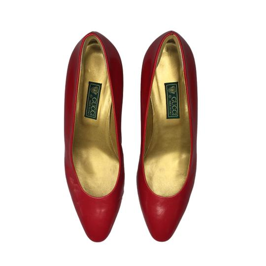 Gucci Vuntage Vintage Gold Insoles Red Pumps Image 4
