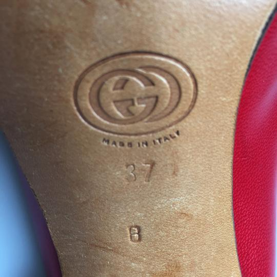 Gucci Vuntage Vintage Gold Insoles Red Pumps Image 6
