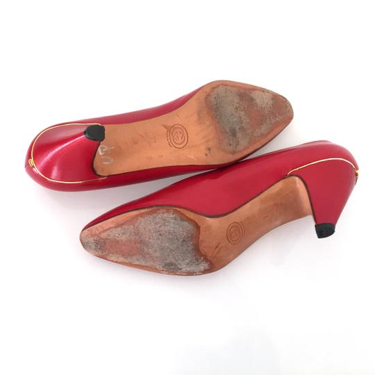 Gucci Vuntage Vintage Gold Insoles Red Pumps Image 7