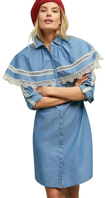 Item - Blue New Western Chambray Short Night Out Dress Size 4 (S)