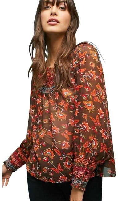 Item - Brown New Montrose Embroidered Ranna Gill Peasant Tunic Size 6 (S)