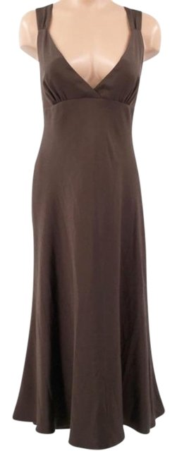 Item - Brown Special Occasion Silk New Long Night Out Dress Size 8 (M)