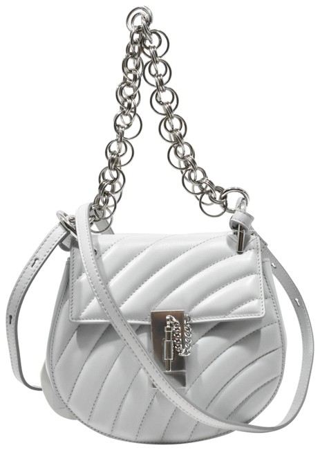 Item - Shoulder Drew Bijou Quilted Airy Gray Calfskin Leather Cross Body Bag