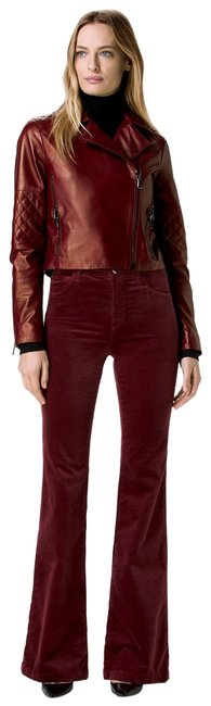 Item - Oxblood Red Maria Velvet High-rise Flare Leg Jeans Size 26 (2, XS)