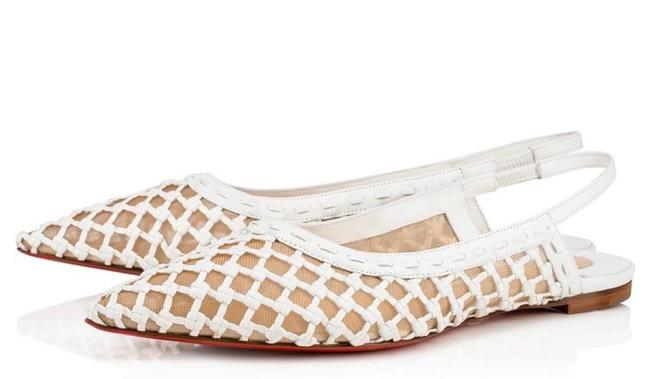 Item - White Cage and Sling Braided Leather Mesh Sling Flats Size EU 41 (Approx. US 11) Regular (M, B)