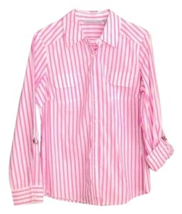 Signature by Larry Levine Button Down Shirt Pink and White