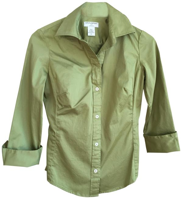 Item - Green XS Stretch 3/4 Length Button-down Top Size 2 (XS)