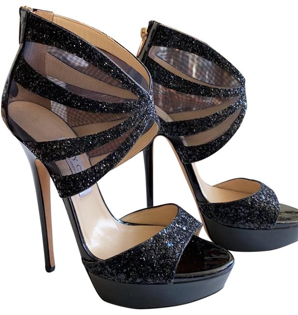 Item - Black Liv Mesh Glitter Heels Platforms Size EU 39.5 (Approx. US 9.5) Regular (M, B)