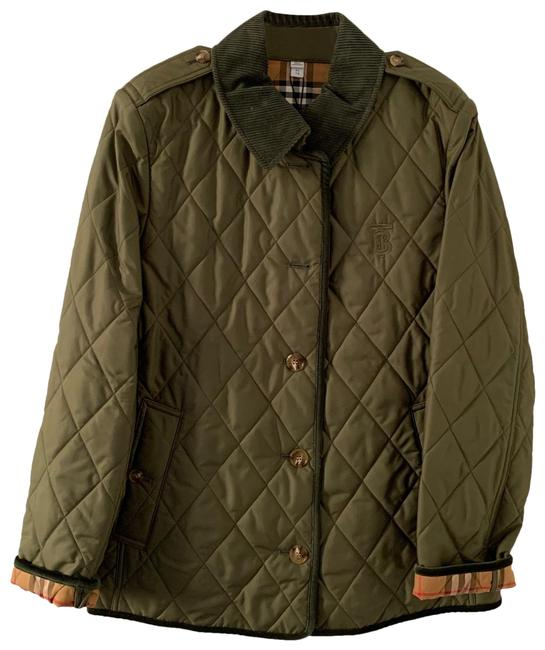 Item - Olive Green Monogram Motif Quilted Jacket Size 16 (XL, Plus 0x)