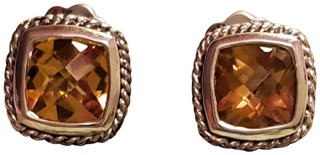 Item - Citrine Mini Alhambra Sterling Silver and 18kt Gold Earrings