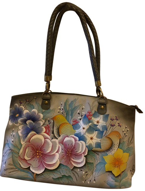 Item - Extra Large Zippered with Dove Motif Gray Leather Tote