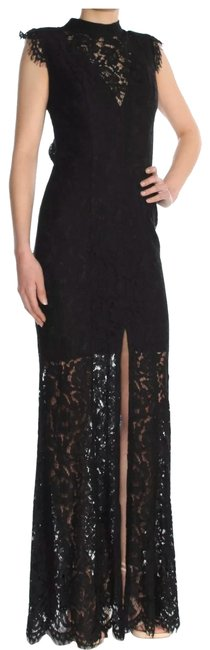 Item - Black Lace Open Back Evening Gown Long Formal Dress Size 8 (M)