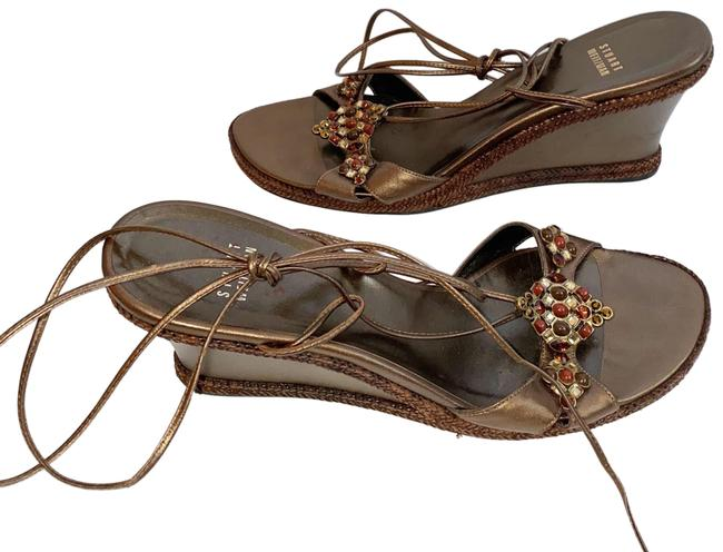 Item - Brown Metallic Wrap Around Ankle with Embellishments Wedges Size US 10.5 Regular (M, B)
