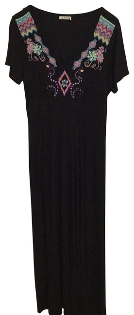 Item - Black with Embroidery In Blue Purple Pink Yellow and Lime Green. Rn133348 Long Casual Maxi Dress Size 12 (L)