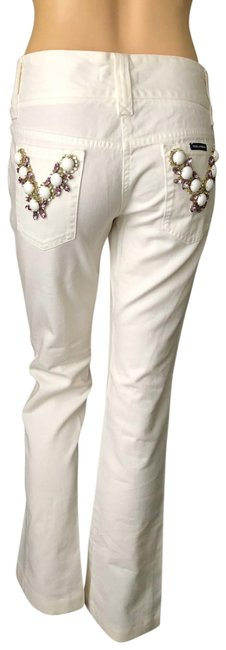 Item - White Embellished Straight Leg Jeans Size 6 (S, 28)