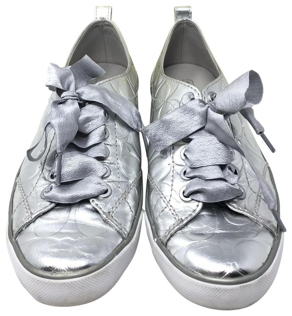 Item - Silver Metallic Suzzy Leather Coated Canvas Q1569 Sneakers Size US 7 Regular (M, B)