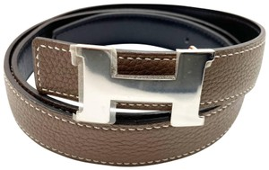 Hermès Hermes New Constance 24mm Black Taupe Reversible Silver H Bucket