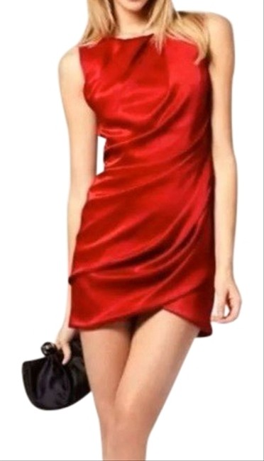 Item - Red Ruched Mini Short Cocktail Dress Size 4 (S)