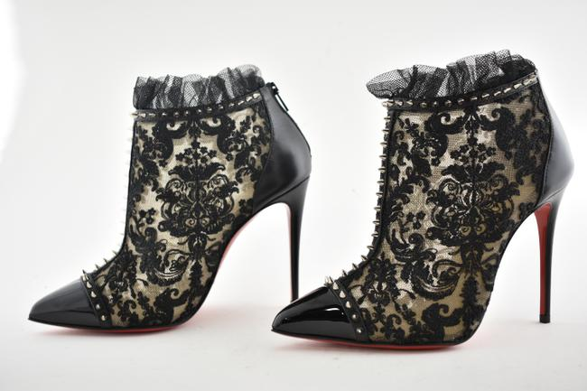 Christian Louboutin Black Pigalla 100 Spike Patent Nude