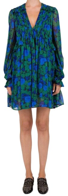 Item - Green and Blue Winter Night-print Frilled Silk-crepe Georgette Cocktail Dress Size 2 (XS)