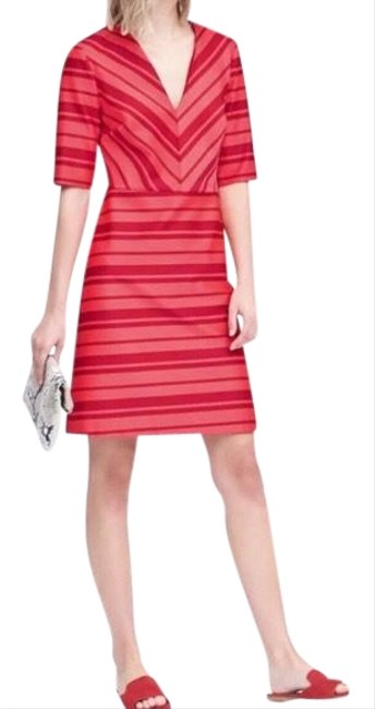 Item - Red and Pink Striped Short Casual Dress Size 0 (XS)