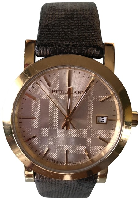 Item - Gold and Brown Plaid Watch