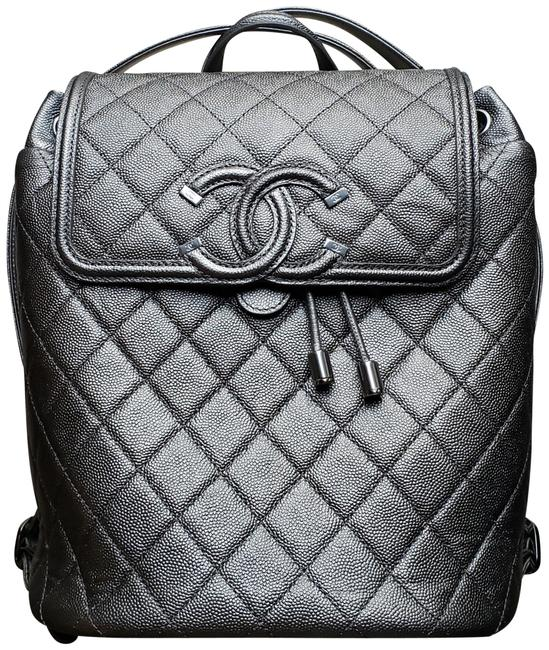 Item - * New * Quilted Filigree Cc Dark Silver Caviar Leather Backpack