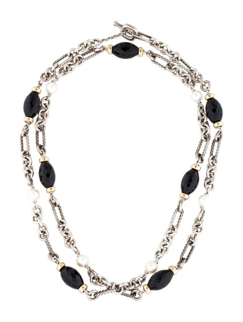 Item - Onyx and Pearl Silver 18k Gold Toggle Clasp Chain Necklace