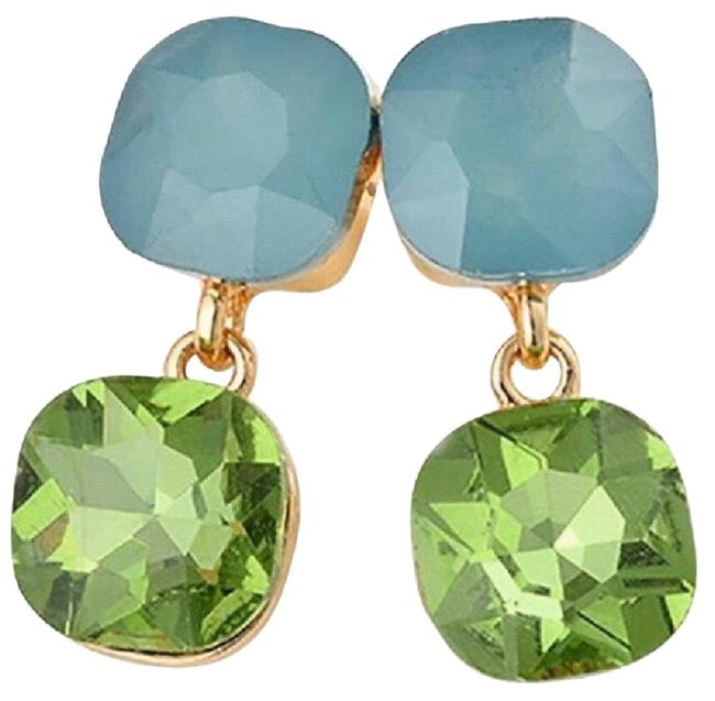 Kate Spade Blue & Green Crystal Dangling Double Drop Earrings Kate Spade Blue & Green Crystal Dangling Double Drop Earrings Image 1