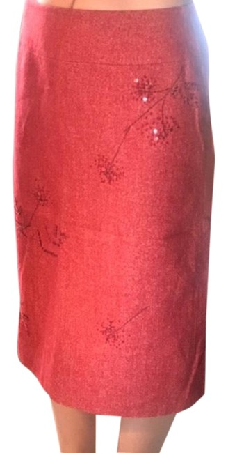 Item - Red Wool Blend Embellished Pencil Skirt Size 4 (S, 27)
