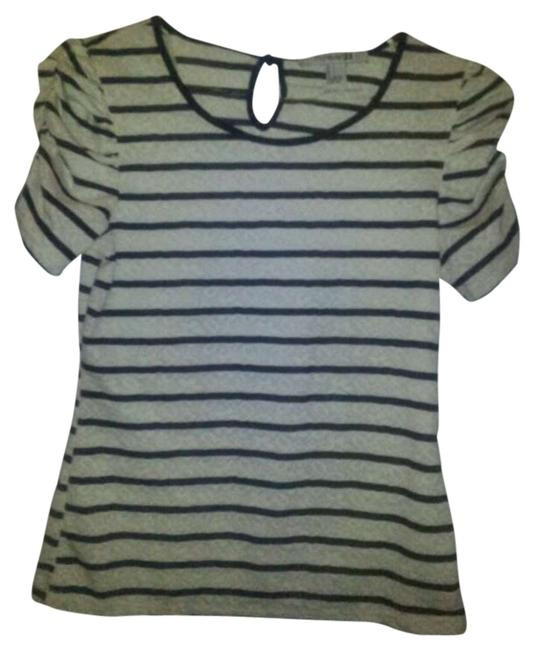 Forever 21 21 Top Cream with Navy Stripes