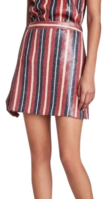 Item - Red Blue and White Striped Sequin Small Skirt Size 4 (S, 27)