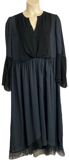 Item - Black/Gray L Runway Lara Gray/Black Poly Silk Long Casual Maxi Dress Size 12 (L)