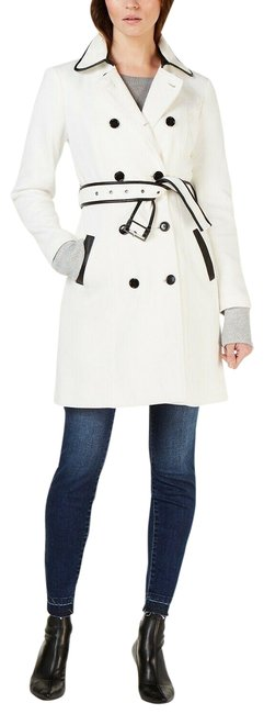 Item - White L Ponte Knit Black Women New Coat Size 12 (L)