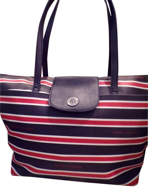 Item - Tote Red White Blue Canvas Nylon Fabric Shoulder Bag