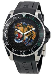 Gucci Stainless Black Rubber Strap Tiger Dial Mens Dive Ya136318