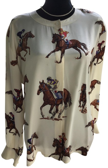Item - Multicolor Off To The Derby Equestrian Silk Blouse Size 14 (L)